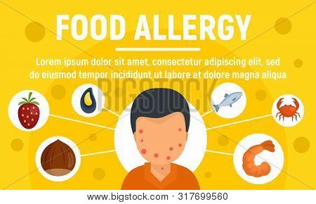 Food Allergy Concept Banner. Flat Illustration Of Food Allergy Vector Concept Banner For Web Design