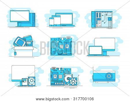 Modern Linear Pictogram Of Computer Components. Set Of Concept Line Icons Computer Components. Compu