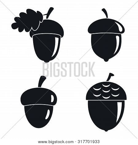 Acorn Leaf Icons Set. Simple Set Of Acorn Leaf Vector Icons For Web Design On White Background