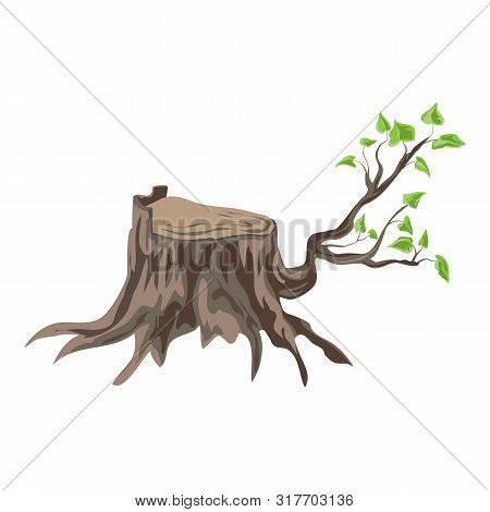 Tree Stump With Branch Icon. Cartoon Of Tree Stump With Branch Vector Icon For Web Design Isolated O