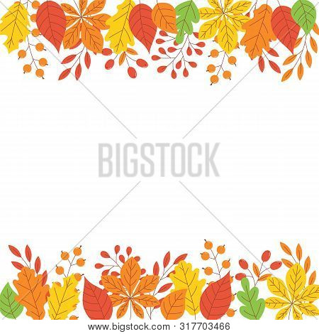 Autumn Leaf Border With Copy Space - Simple Flat Abstract Tree Colorful Foliage Frame For Fall Seaso