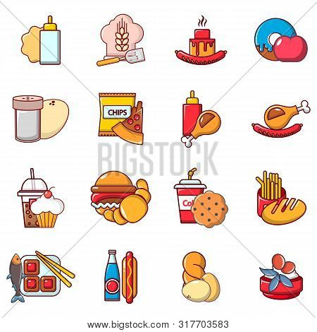 Foodstuff Icons Set. Cartoon Set Of 16 Foodstuff Vector Icons For Web Isolated On White Background