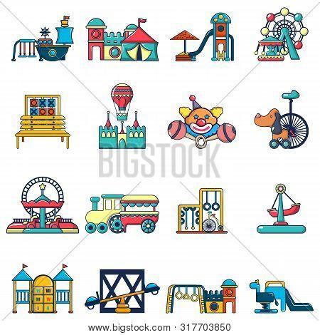 Children Playground Icons Set. Cartoon Set Of 16 Children Playground Vector Icons For Web Isolated O