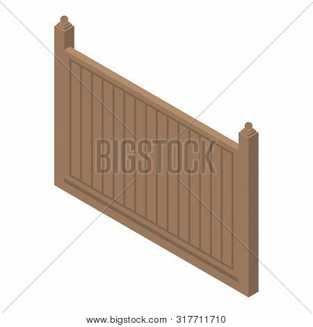 Rural Wood Fence Icon. Isometric Of Rural Wood Fence Vector Icon For Web Design Isolated On White Ba