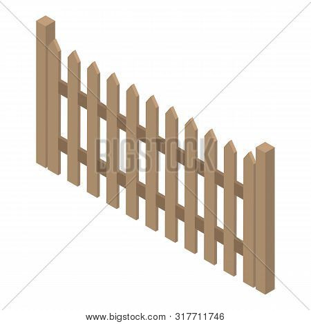 Traditional Wood Fence Icon. Isometric Of Traditional Wood Fence Vector Icon For Web Design Isolated