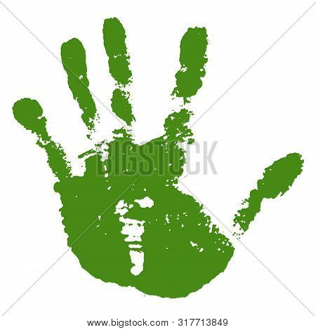 Hand Paint Print, Isolated White Background. Green Human Palm And Fingers. Abstract Art Design, Symb