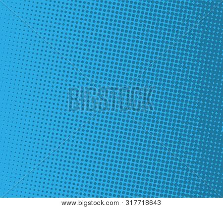 Pop Art Comic Background Lightning Blast Halftone Dots.vector Illustration On Blue. Halftone Retro D