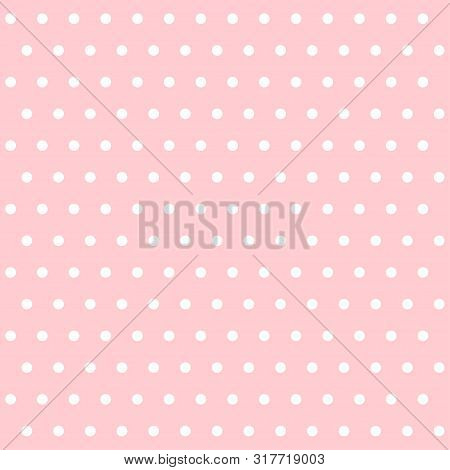 White Dotted Polka Pattern Lecture On White Background. Polka Dot Seamless Pattern Background. Pink