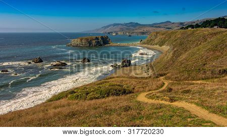 Panoramic View Of The Pacific Coast From Goat Rock State Park, Sonoma Coast, California, Usa, On A S