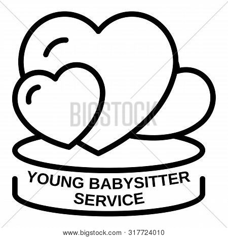 Young Babysitter Service Icon. Outline Young Babysitter Service Vector Icon For Web Design Isolated