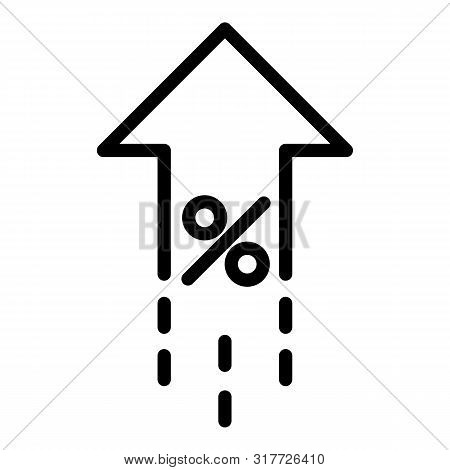 Leasing Percent Rate Up Icon. Outline Leasing Percent Rate Up Vector Icon For Web Design Isolated On