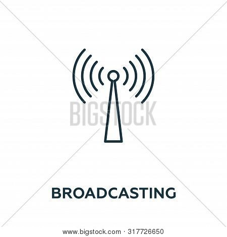 Broadcasting Vector Icon Symbol. Creative Sign From Advertising Icons Collection. Filled Flat Broadc