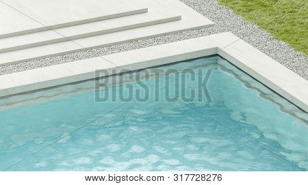Blank Blue Rippled Water In Swimming Pool Mockup, 3d Rendering. Empty Basin In Hotel Or Home Exterio
