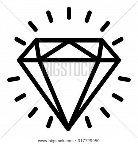 Shiny Diamond Icon. Outline Shiny Diamond Vector Icon For Web Design Isolated On White Background
