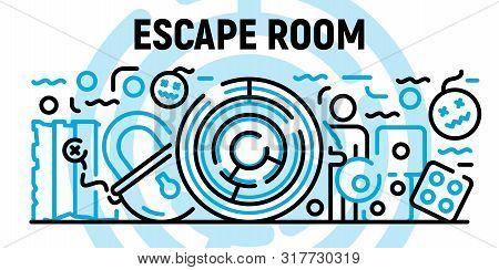 Escape Room Banner. Outline Illustration Of Escape Room Vector Banner For Web Design