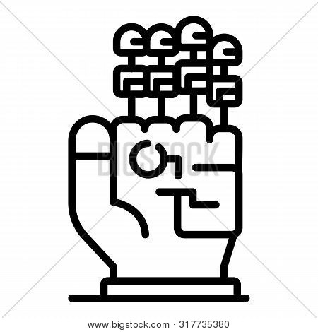 Four Finger Prostheses Icon. Outline Four Finger Prostheses Vector Icon For Web Design Isolated On W