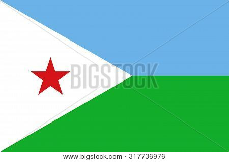 Flag Of Djibouti A Vector Illustration, Worlds Flags Collection
