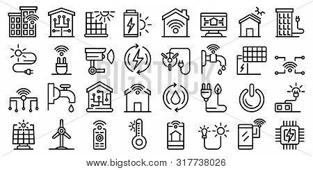 Autonomous House Icons Set. Outline Set Of Autonomous House Vector Icons For Web Design Isolated On