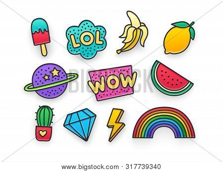 Enamel Pin, Clothing Patch, Pin, Patches, Badges And Stickers Set. 80s-90s Style. Vector Illustratio