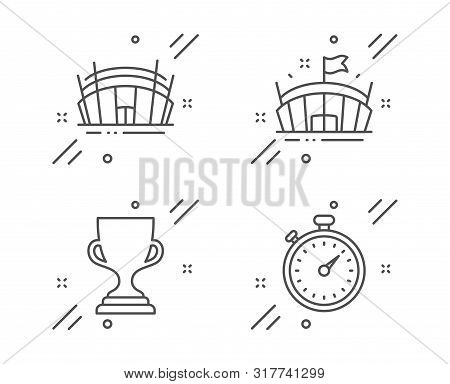 Arena, Award Cup And Arena Stadium Line Icons Set. Timer Sign. Sport Stadium, Trophy, Sport Complex.