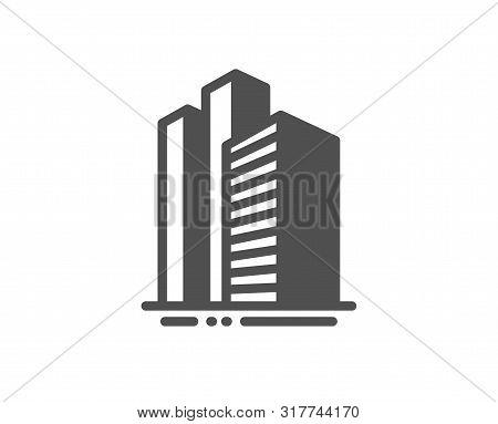 City Architecture Sign. Skyscraper Buildings Icon. Town Symbol. Classic Flat Style. Simple Skyscrape