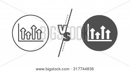 Financial Graph Sign. Versus Concept. Growth Chart Line Icon. Upper Arrows Symbol. Business Investme