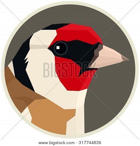 Eurasian Goldfinch Bird Vector Illustration Round Frame Set