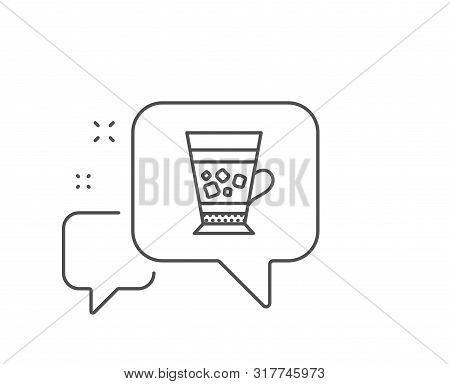 Frappe Coffee Icon. Chat Bubble Design. Cold Drink Sign. Beverage Symbol. Outline Concept. Thin Line