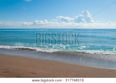 Sandy Coast Of The Aegean Sea. Sandy Coast Of The Aegean Sea. Greek Coast Of The Aegean Sea