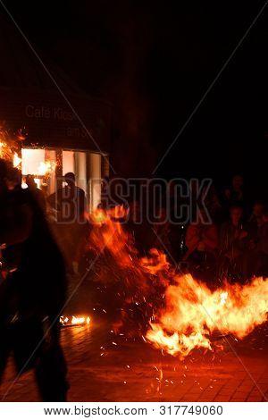 Hamm, Germany, 18.08.2019: Fakir, Fire Show In Germany