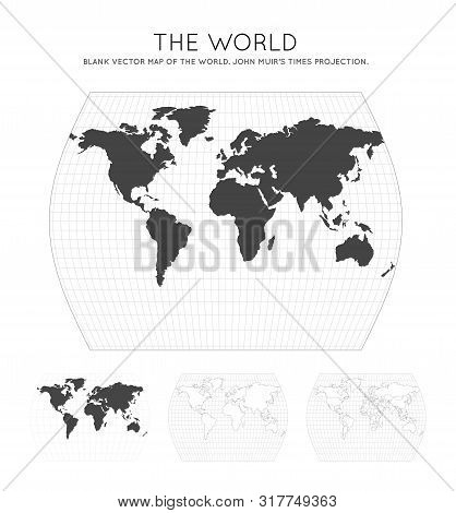 Map Of The World. John Muir's Times Projection. Globe With Latitude And Longitude Lines. World Map O
