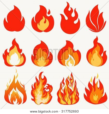 Fire Flame, Modern Flames Collection Symbol Icon Design. Vector