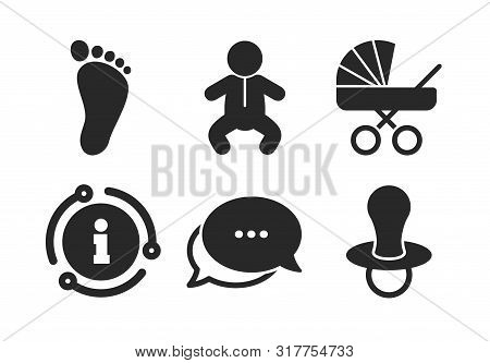 Toddler Boy With Diapers Symbol. Chat, Info Sign. Baby Infants Icons. Buggy And Dummy Signs. Child P