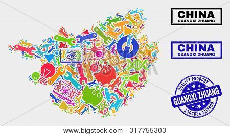 Vector Composition Of Service Guangxi Zhuang Region Map And Blue Stamp For Quality Product. Guangxi