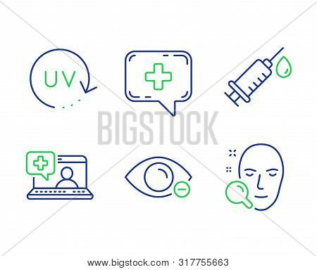 Medical Help, Medical Syringe And Myopia Line Icons Set. Uv Protection, Face Search Signs. Medicine