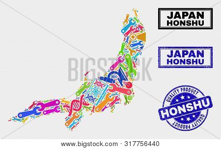 Vector Combination Of Service Honshu Island Map And Blue Stamp For Quality Product. Honshu Island Ma