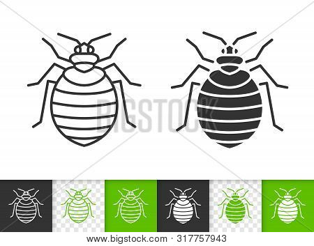 Bedbug Black Linear And Silhouette Icons. Thin Line Sign Of Insect. Pest Outline Pictogram Isolated