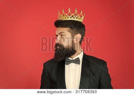 Vip. Big Boss. Formal Event. King Crown. Formal Wear Male Fashion. Egoist. Businessman In Tailored T