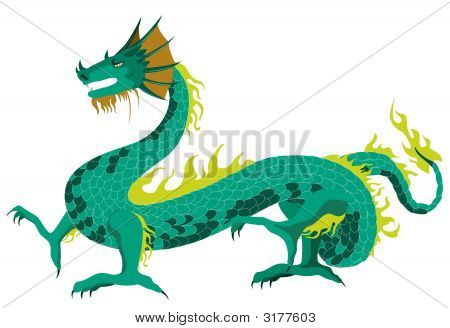 An Illustration of a Dragon with Clipping Path Path poster