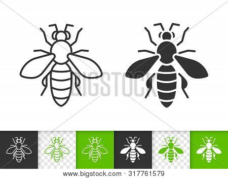 Bee Black Linear And Silhouette Icons. Thin Line Sign Of Honey. Insect Outline Pictogram Isolated On