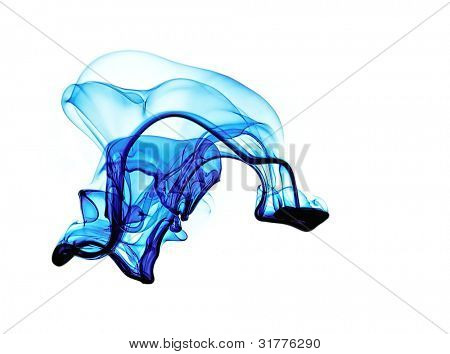 Blue liquid in water making abstract forms