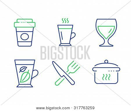 Latte, Mint Leaves And Takeaway Coffee Line Icons Set. Food, Wine Glass And Boiling Pan Signs. Tea G