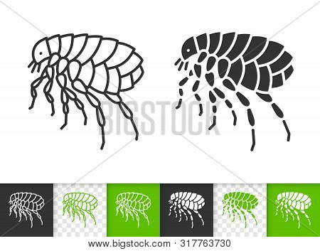 Flea Black Linear And Silhouette Icons. Thin Line Sign Of Insect. Parasite Outline Pictogram Isolate