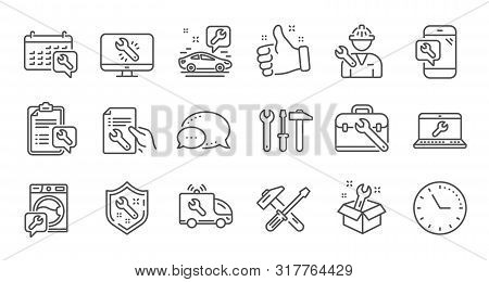 Repair Line Icons. Hammer, Screwdriver And Spanner Tool. Washing Machine Repair Linear Icon Set. Qua