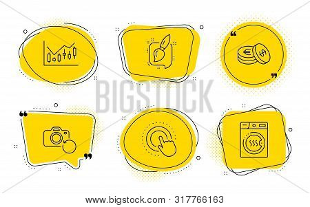Recovery Photo, Savings And Dryer Machine Signs. Chat Bubbles. Painting Brush, Click Hand And Financ