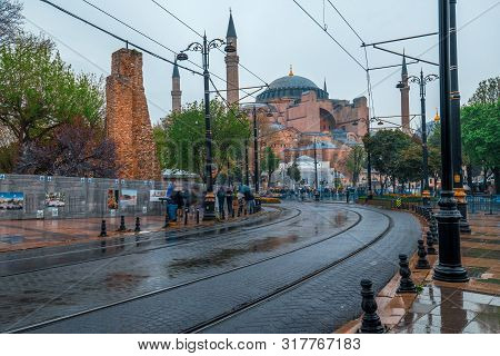 April 10, 2019 :crowd At Old Town Istanbul And Hagia Sophia Istanbul, Turkey