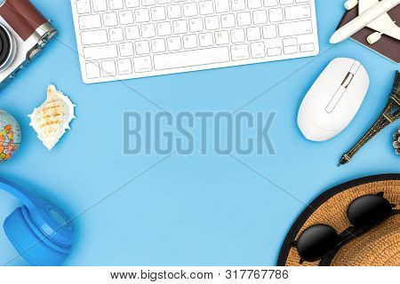Outfit And Accessories Of Traveler On Blue Background With Copy Space, Travel Concept, Overhead View
