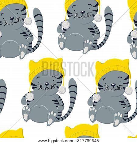 Cute Kitten In Winter Hat Seamless Pattern In Cartoon Style