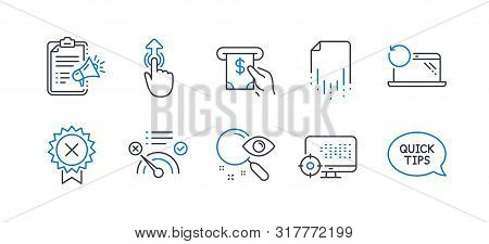Set Of Technology Icons, Such As Megaphone Checklist, Recovery File, Search, No Internet, Reject Med