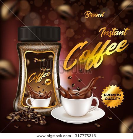 Instant Coffee Of Premium Quality Advertising Banner, Glass Bottle And White Porcelain Cup On Plate